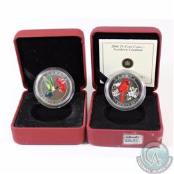 Lot of 2x Canada 25-cent Coloured Bird Coins - 2007 Ruby-throated Hummingbird (Missing COA) & 2008 N