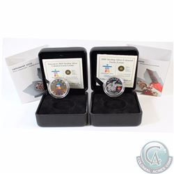 2008 & 2010 Canada $1 Vancouver Olympics Sterling Silver Lucky Loonies (Coins are lightly toned). 2p