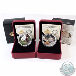 Lot of 2x 2016 Canada $20 Fine Silver Coins - Baby Animal Woodchuck & Regal Red-Tailed Hawk. 2pcs (T