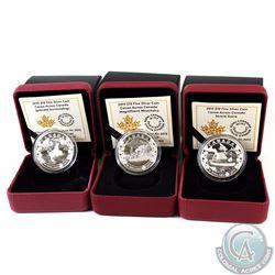 Lot of 3x 2015 Canada $10 Canoe Across Canada Fine Silver Coins - Magnificent Mountains, Splendid su