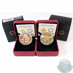 Lot of 2x 2014 Canada $20 Cougar Fine Silver Coins - Coloured Perched on a Maple Tree & Gold Plated