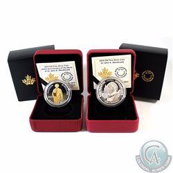 Lot of 2x 2015 Canada John A. Macdonald Fine Silver Commemorative Coins - $20 John A. Macdonald & $1