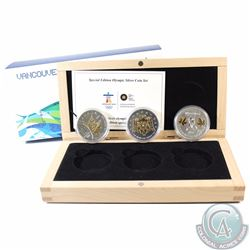 2010 Canada $5 Vancouver Olympic Gold Plated Silver 3-coin Set (TAX Exempt)