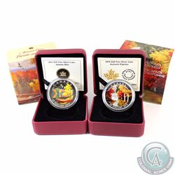 2013 Canada $20 Autumn Bliss & 2015 $20 Autumn Express Fine Silver Coins (Capsules are lightly scrat