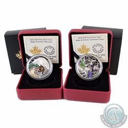Lot of 2x 2016 Canada $20 Baby Animals Fine Silver Coins - Common Loon (very small black spot on obv