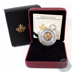 2016 Canada $20 Majestic Maple Leaves with Drusy Stone Fine Silver Coin (TAX Exempt)