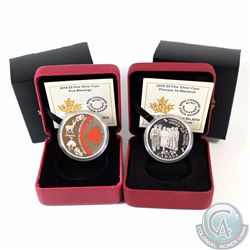 2014 Canada $5 Five Blessings & 2014 $5 Princess to Monarch Fine Silver Coins (Capsules are lightly