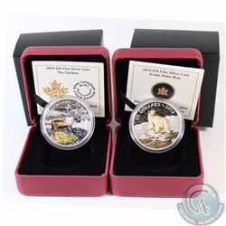 2014 Canada $20 Iconic Polar Bear & 2014 $20 The Caribou Fine Silver Coins. 2pcs (TAX Exempt)