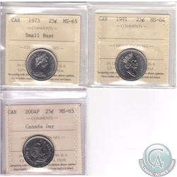 Lot of 3x Canada ICCS Certified 25-cent coins. This lot includes the 1973 Small Bust MS-65, 1991 MS-