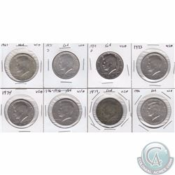 Estate Lot of 8x USA 50-cent Pieces. This lot includes the 1967, 1971D, 1972D, 1973, 1974, 1976, 197