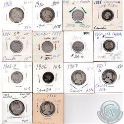 Mixed Lot of 1893-1913 Canada Silver 10-cent & 25-cent Coins. This lot includes following: 10-cents