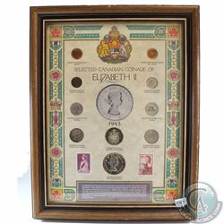 Canadian Coinage of Elizabeth II Collection in Wooden Frame. This 10-coin Set features the portraits