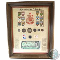 The Canadian Centennial Collection in Wooden Frame. This 7-coin, Stamp and paper money set features