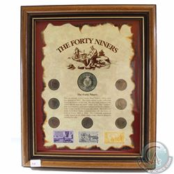 United States 'The Forty Niners' Collection in Wooden Frame. This 7-coin and Stamp Set features the