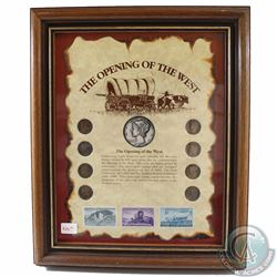 United States 'The Opening of the West' Collection in Wooden Frame. This 8-coin and Stamp Set featur