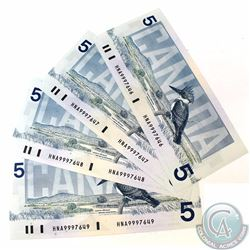 4 x 1986 Replacement $5.00 Notes with Prefix HNA(9.800M-9.999M) and Consecutive Serial Numbers. 4 pc