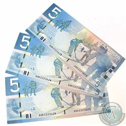 3 x 2006 Replacement $5.00 Notes with Prefix AOK(1.960M-2.280M) and Consecutive Serial Numbers. 3 pc