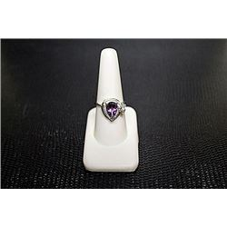 "Very Fancy  White Gold over Silver ""Pear"" Shape Amethyst & Diamond Ring."