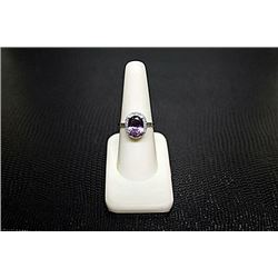"Very Fancy  White Gold over Silver ""Oval"" Shape Amethyst & Diamond Ring."