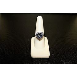 Lady's Very Fancy  White Gold over Silver Lab Alexandrite Ring.