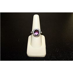 Very Fancy  White Gold over Silver Amethyst & Diamond Ring.