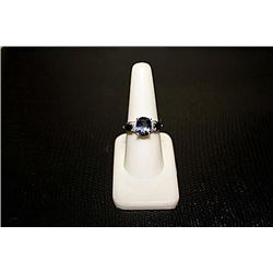 Very Beautiful  White Gold over Silver Lab Alexandrite Ring.