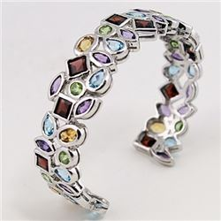 SILVER BANGLE WITH MULTI COLOR STONES
