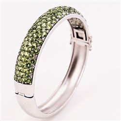 SILVER BANGLE WITH PERIDOT