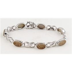 SILVER BRACELET WITH DRUSY