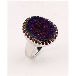 SILVER RING WITH DRUSY AND GARNET