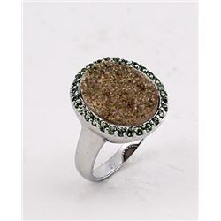 SILVER RING WITH DRUSY AND PERIDOT