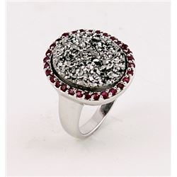 SILVER RING WITH DRUSY AND RUBY