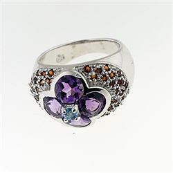 SILVER RING WITH AMETHYST AND GARNET