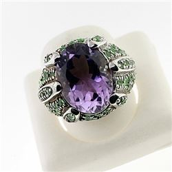 SILVER RING WITH AMETHYST AND TSAVORITE
