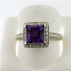 SILVER RING WITH AMETHYST AND WHITE TOPAZ
