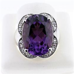 SILVER RING WITH AMETHYST AND WHITE ZIRCON