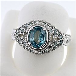 SILVER RING WITH BLUE ZIRCON AND BLUE DIAMOND