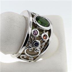 SILVER RING WITH CHROME DIOPSIDE AND MULTISAPPHIRE