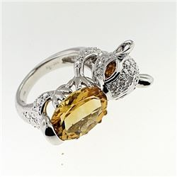 SILVER RING WITH CITRINE AND WHITE TOPAZ