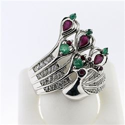 SILVER RING WITH EMERALD , RUBY AND WHITE TOPAZ
