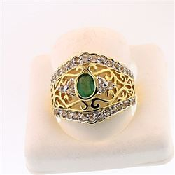 SILVER RING WITH EMERALD AND WHITE TOPAZ