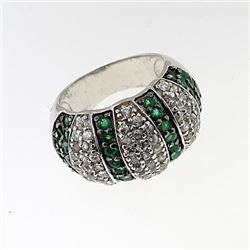 SILVER RING WITH EMERALD AND WHITE ZIRCON