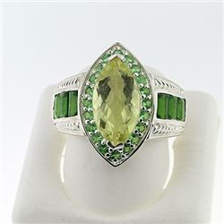 SILVER RING WITH LEMON QUARTZ, CHROME DIOPSIDE AND TSAVORITE