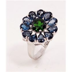SILVER RING WITH LONDON BLUE AND CHROME DIOPSIDE