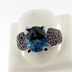 SILVER RING WITH LONDON BLUE AND RHODOLITE