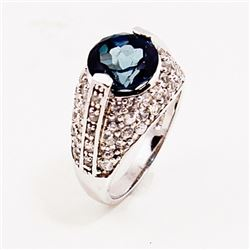 SILVER RING WITH LONDON BLUE AND WHITE TOPAZ