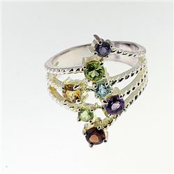 SILVER RING WITH MULTI GEMS