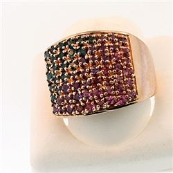 SILVER RING WITH MULTI SAPPHIRE