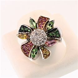 SILVER RING WITH PINK AND YELLOW SAPPHIRE, TSAVORITE & W ZIRCON