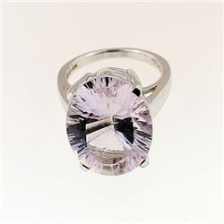 SILVER RING WITH PINK AMETHYST